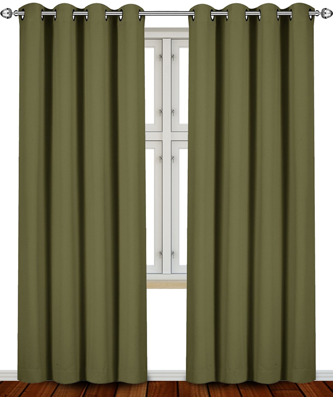 Blackout, Room Darkening Curtains Window Panel Drapes Olive Color
