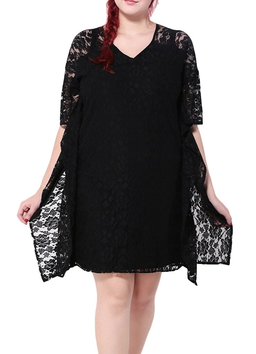Bigood Plus Size 1/2 Armle Damen Lace Elegante Kleid Knielanges Kleid Party Kleid Schwarz