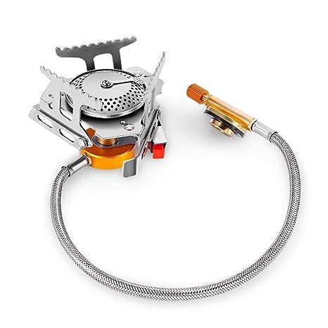 Amazon.com: Hornillo de gas portátil con cabezal dividido ...