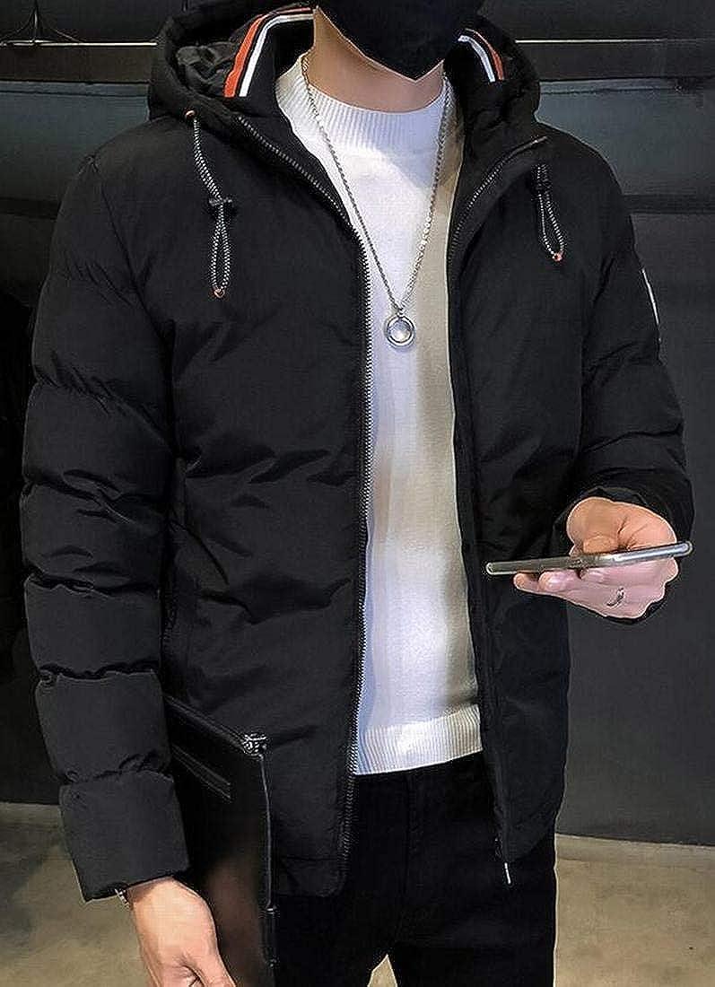 ARTFFEL Men Warm Hoodie Winter Thicken Plus Size Regular Fit Quilted Jacket Coat Outerwear