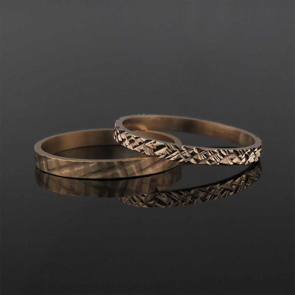 Amazon Rose Gold Wedding Band Set Two Solid 14k And 18k Textured Rings Handmade Boho Artisan Jewelry: Artisan Wedding Rings And Bands At Websimilar.org