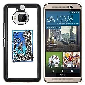 KLONGSHOP // Cubierta de piel con cierre a presión Shell trasero duro de goma Protección Caso - Acuario - HTC One M9Plus M9+ M9 Plus //