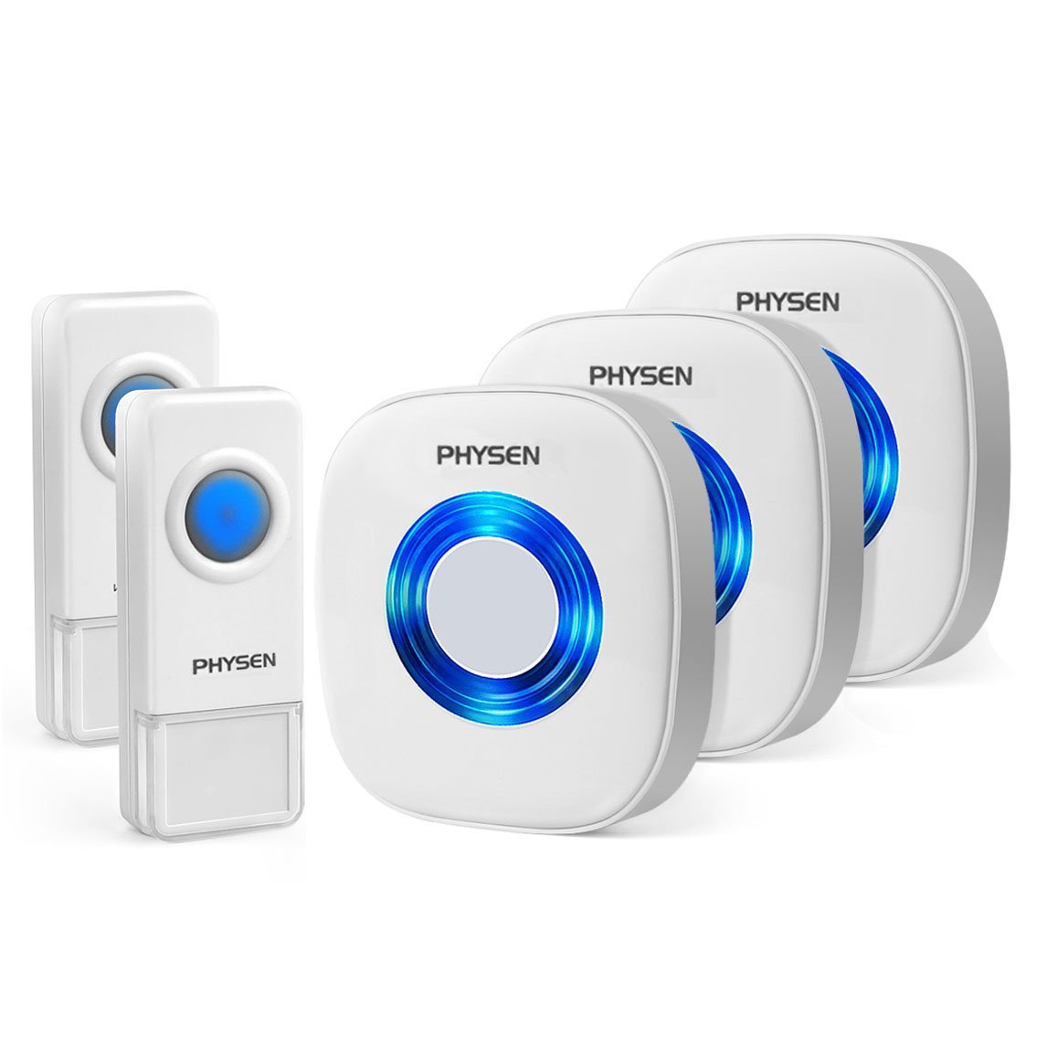 Wireless Doorbell, PHYSEN CW Waterproof Wireless Door Bell Door Chime, 2 Push Buttons and 3 Plug in Receivers, Operating up to 1000 Feet Range, 4 Adjustable Volume Levels with 52 Chimes, White&Blue LED