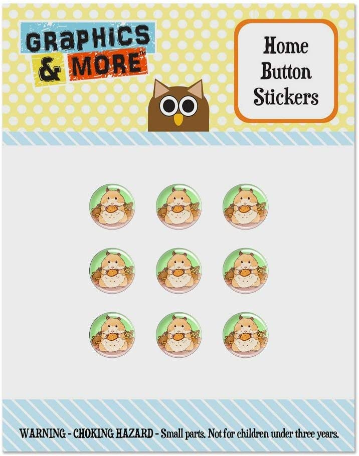 Hamster Eating Stash of Food Set of 9 Puffy Bubble Home Button Stickers Fit Apple iPod Touch, iPad Air Mini, iPhone 5/5c/5s 6/6s 7/7s Plus