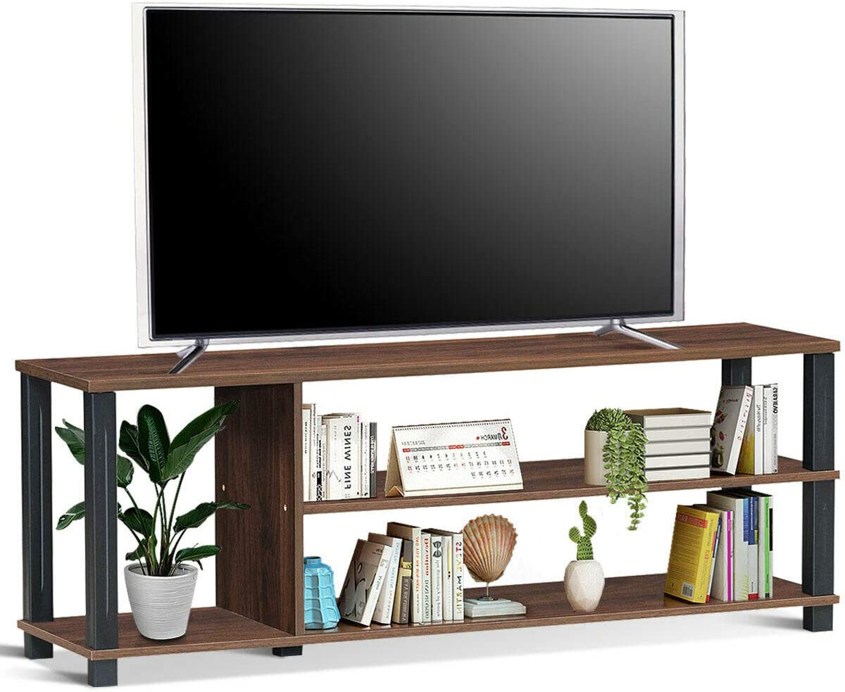Brown TV Stand Home Entertainment Media DVD Player Stereo Gaming Console System CD DVD Books Magazines Shelf Cabinet Ample Storage Space with 3 Compartments Ideal for 50 Inches Flat Panel Television