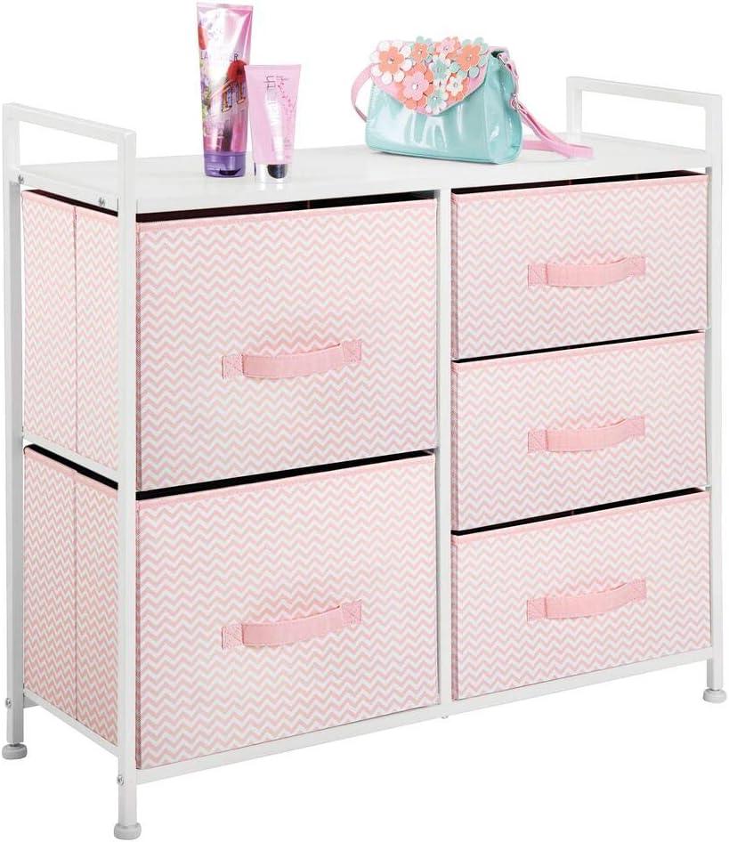 praktisches Aufbewahrungssystem f/ür Schlafzimmer oder Schlafsaal taupe//weiss schmaler Schrank Organizer mit 5 Schubladen mDesign Kommode aus Stoff