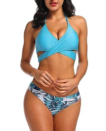 b9180210a0286 Amazon.com: KIWI RATA 2019 Womens Two Piece Swimsuit Padded Halterneck Push  up Bathing Bikini Top with High Waisted Bottoms: Clothing
