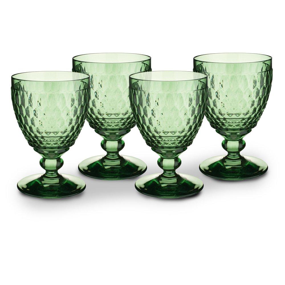 Boston Green Wine Hobnob Pattern Goblets Set of 4 - ChristmasTablescapeDecor.com