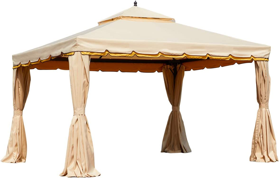 Amazon Com Mellcom 10 X 12 Outdoor Gazebo Canopy Aluminum Frame Soft Top Outdoor Patio Gazebo With Polyester Curtains And Air Venting Screens Beige Garden Outdoor