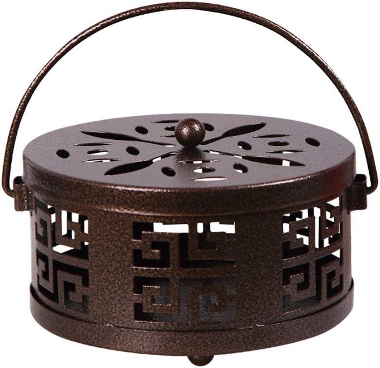 Urisgo - Porta patas, porta espirales antimosquitos, quemador de incienso, porta bobina de hierro con tapa y asa para insectos para interior o exterior