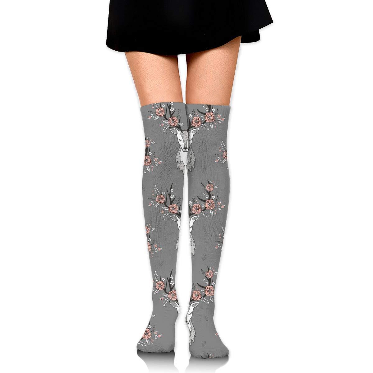 Kjaoi Girl Skirt Socks Uniform Flowers Deer Women Tube Socks Compression Socks