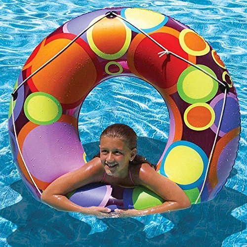 48 Multi-Colored Bright Retro Circles Inflatable Swimming Pool Inner Tube by Swim Central