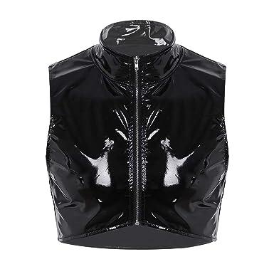 Agoky Herren sexy Leder Top Kurzes Shirt Hemd Stehkragen Tank Oberteile mit  Reisverschluss Lack Optik Freizeit bdb2951cd2