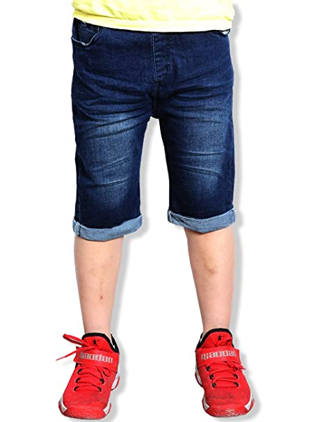 91029194f5 WIYOSHY Boys' Dark Blue Denim Elastic Waist Pull On Knee Length Jean Shorts