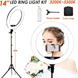 """Volkwell 14""""LED Ring Light, 36CM Dimmable Selfie Ringlight with Tripod Stand Wireless Remote Phone Holder and Carrying Bag for Live Stream/Makeup/YouTube Video/Camera Shooting."""