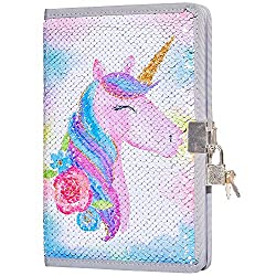 Large Unicorn In Pink Sequin Girls Diary with Lock