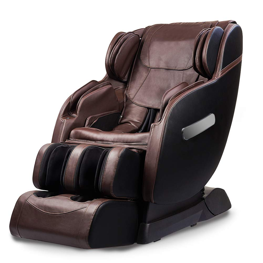 Real Relax SL Track Robotic Body Scan Assembled Zero Gravity Massage Chair Recliner with Ergonomic Arms Massage and Bluetooth Audio Play, Brown and Black