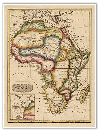 Elegant Map of AFRICA circa 1822 - measures 24