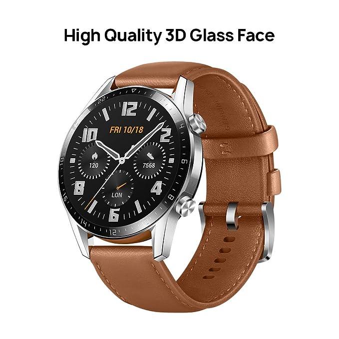Huawei Watch GT 2 Classic - Smartwatch con Caja de 46 mm(2 semanas de Uso, Pantalla táctil AMOLED de 1.39, GPS, 15 Modos Deportivos) Color marrón