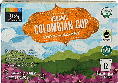 365 Everyday Value, Organic Colombian Cup Vienna Roast Coffee Capsule - 12 count, 4.6 Ounce -
