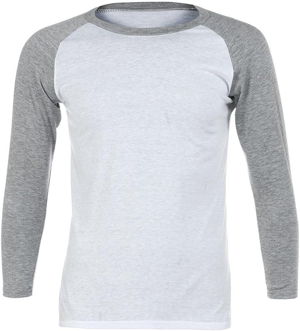 Men Long Sleeve T-Shirt Plain Cotton Tee Casual Bottoming Top Blouse Shirt