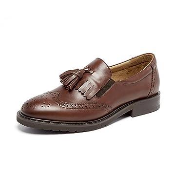 Mocasines con Flecos Marrones Zapatos De Cuero Genuino para Mujeres Bullock Tallada Cabeza Redonda TalóN Grueso