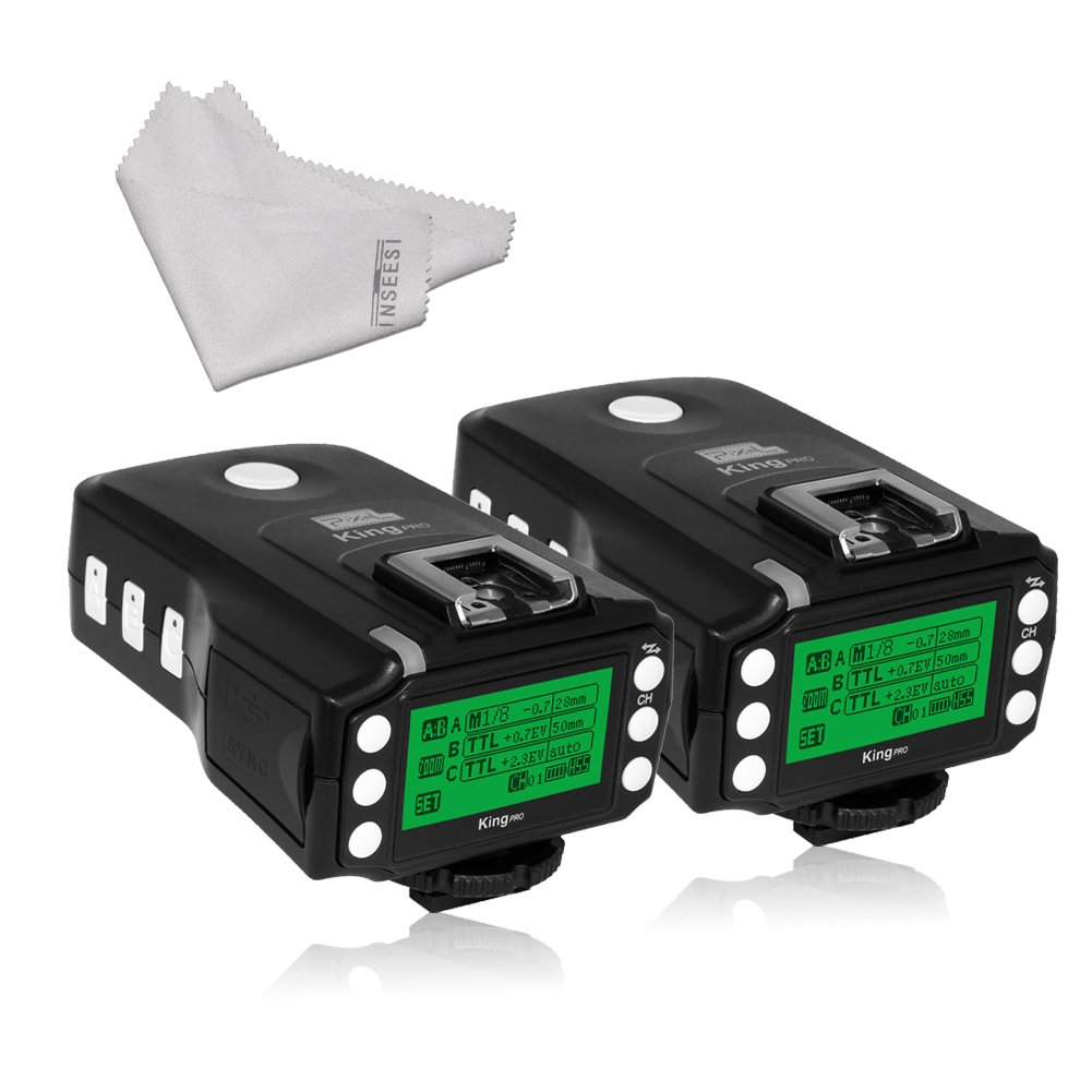 Pixel King Pro Flash Two Transceivers kit TTL HSS LCD Screen with PC Port for Sony Mi Shoe Cameras Sony A7 A7R A7RII A6300 A65 A77II RX10III