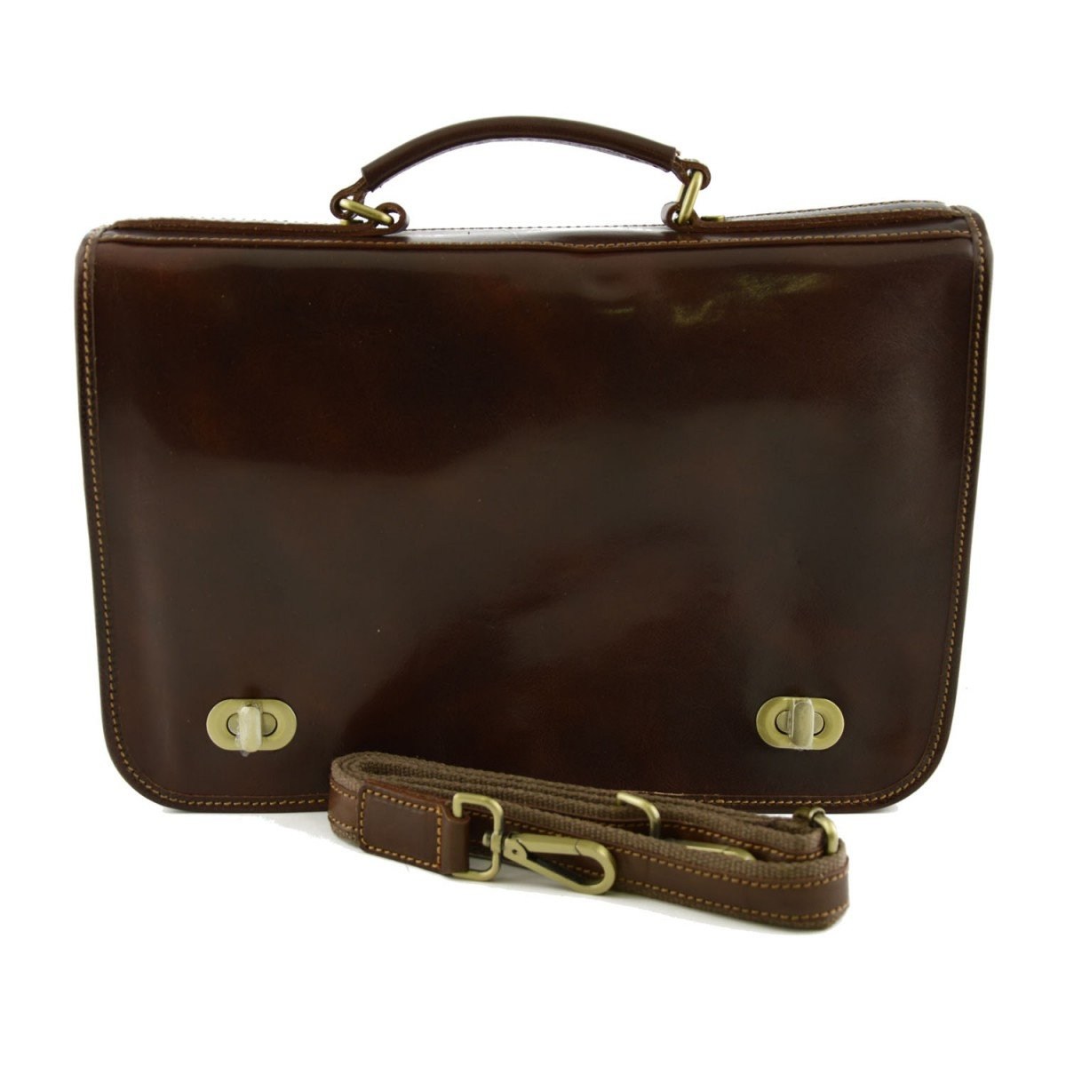 Made In Italy Genuine Leather Business Briefcase, 2 Compartments Color Brown - Business Bag B01N2S30SO