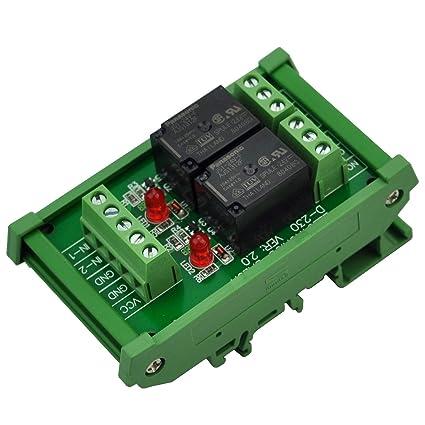 ELECTRONICS-SALON montaje en carril DIN 2 SPDT Relé de potencia del módulo de interfaz, OMRON 10 relé, 24 V bobina.: Amazon.es: Industria, empresas y ciencia