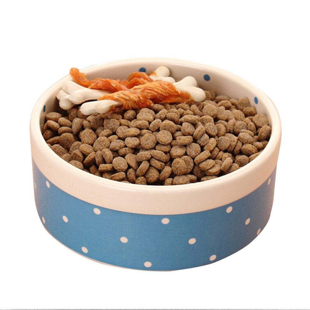 bluee Ceramic Pet Cat Bowl Pet Supplies Kitten Cat Puppy Eating Bowl (color   bluee)