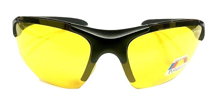 7cab253b4f4 Amazon.com  Half Frame Sport Wrap Around Yellow HD Night Driving ...