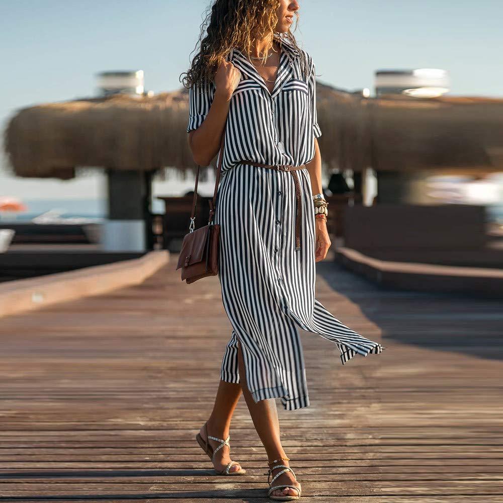 JESPER Women Stripe Printed Long Sleeves Button Bandage Belt Shirt Long Dress US 4/6 Black by JESPER (Image #3)
