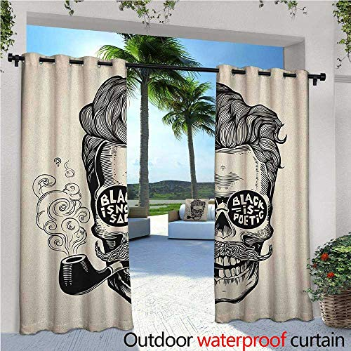 - familytaste Indie Fashions Drape Hipster Gentleman Skull with Mustache Pipe and Eyeglasses with Inscription Vintage Outdoor Curtain Waterproof Rustproof Grommet Drape W108 x L96 Black Cream