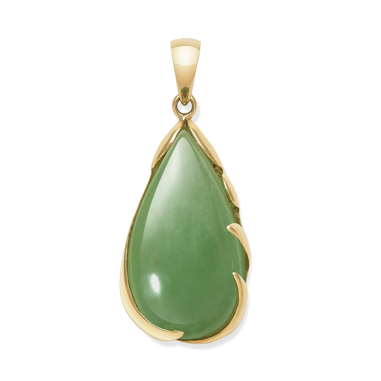 28735f7283eb67 Amazon.com: Belacqua 14k Gold Natural Jade Teardrop Necklace Pendant, 18  inch: Jewelry
