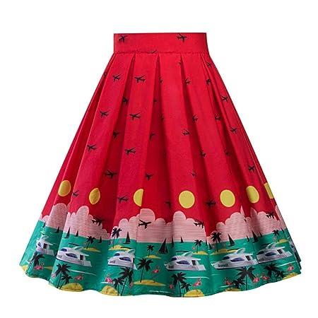 QZBTU Faldas Mujer Falda Plisada Falda Estampada De Sandía Mujeres ...