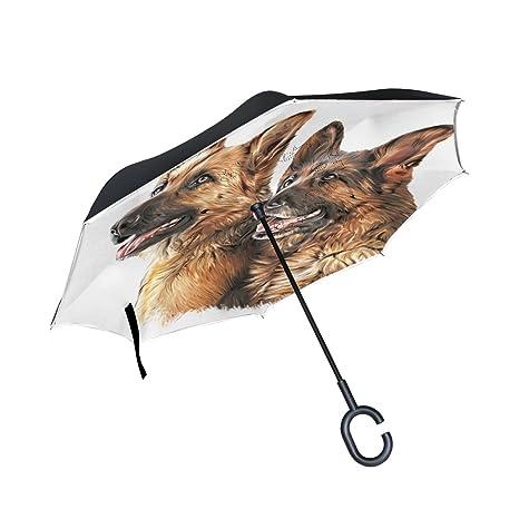 COOSUN Dibujo capa de perro pastor alemán doble del paraguas invertido inversa para el coche y