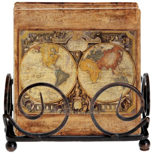 thirstystone-occasions-stoneware-drink-coasters-with-holder-includes-old-world-map