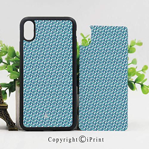 (Case for iPhone X,Nautical Inspired Color Palette Rhombus Arrow Shapes Africa Middle East Culture Decorative Hard Case with TPU Bumper Protective Case Cover,Blue Turquoise)