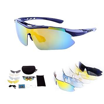 Polarizadas Gafas de deporte para hombres mujeres ciclismo running conducción pesca Golf Béisbol Con TR90 Unbreakable marco, 5 lentes intercambiables: ...