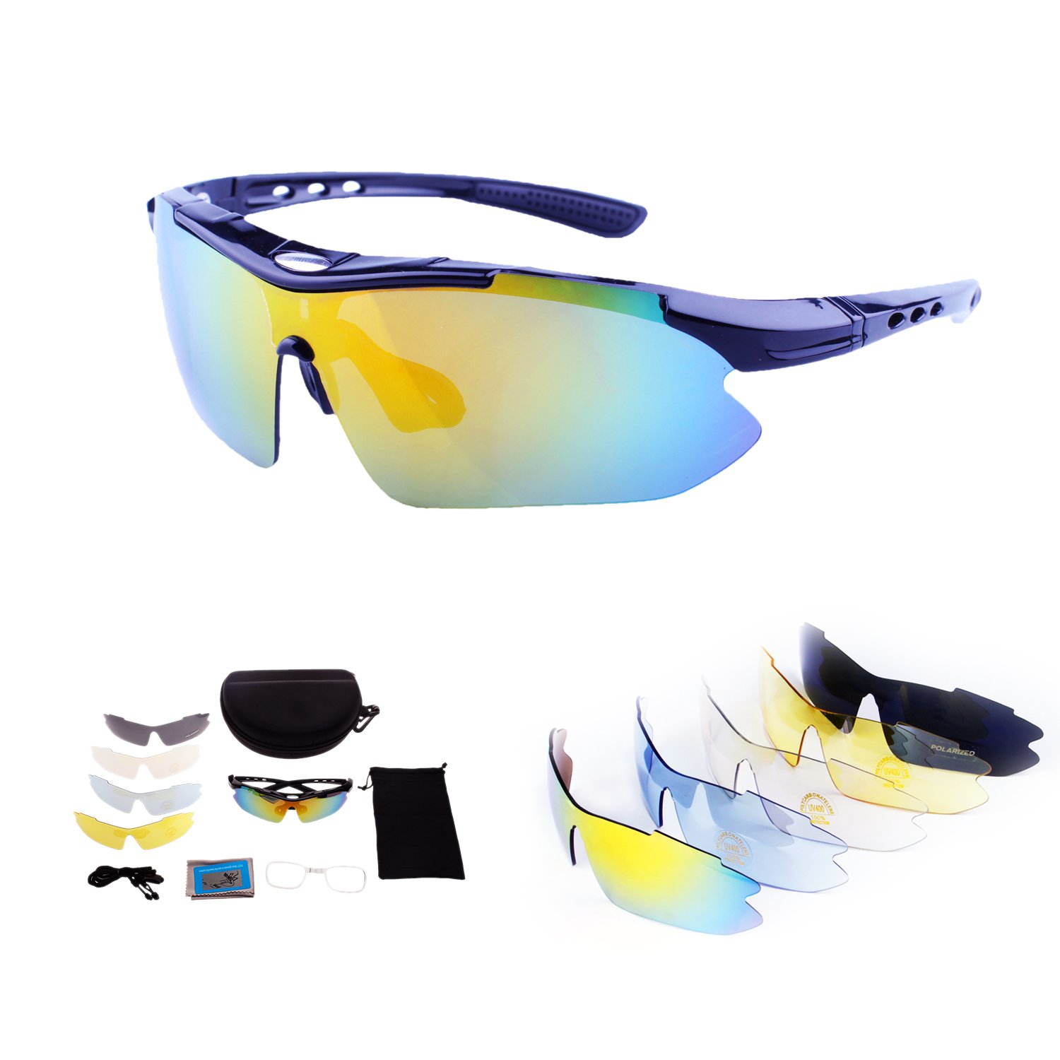 Polarized Sport Sunglasses With 6 Interchangeable Lenses