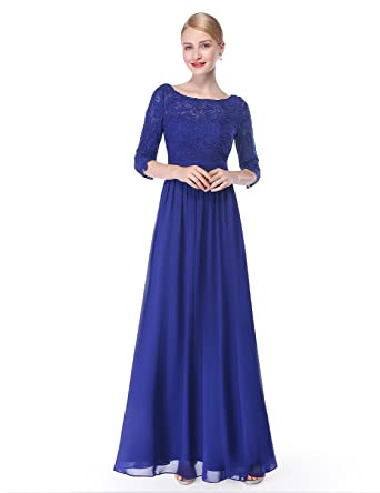1ea713e9a3 Ever-Pretty Womens Illusion Lace Neckline Floor Length Prom Dress 4 US  Saphire Blue