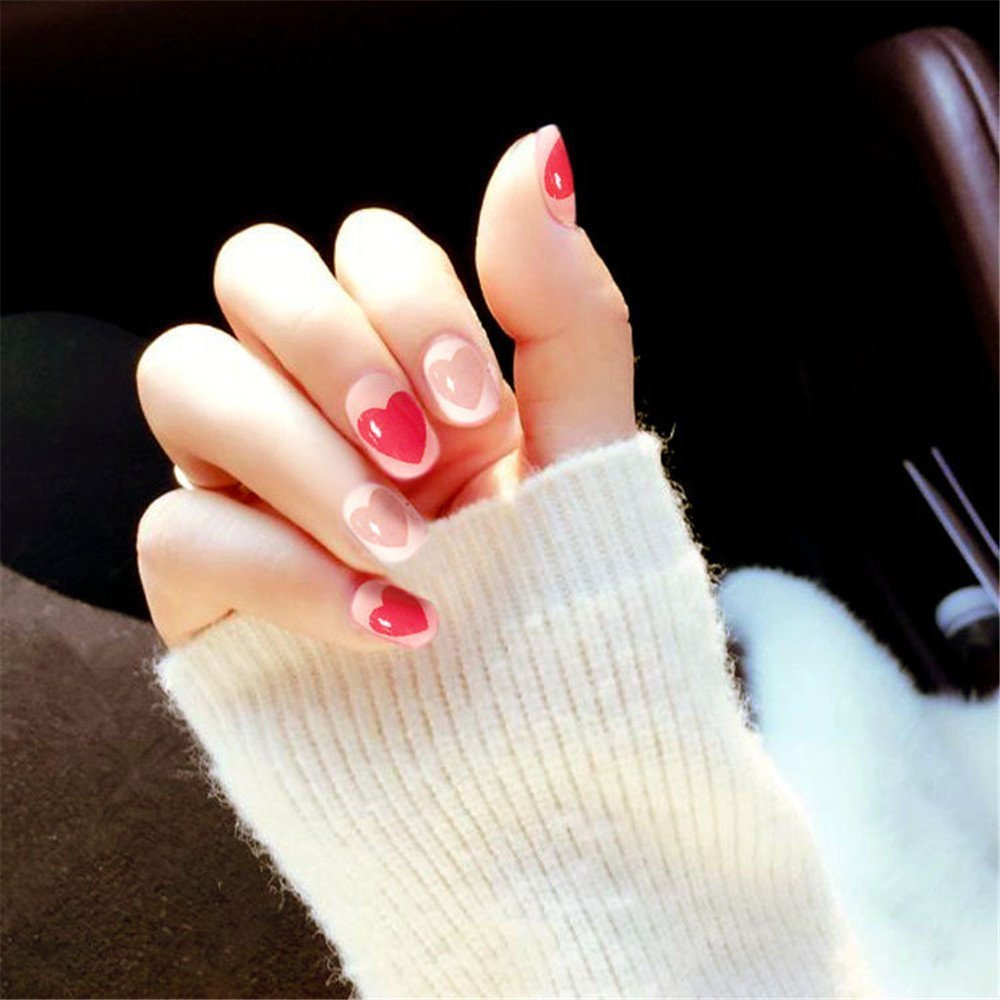 MENILITHS 24Pcs False Nails Heart Shape Bride Nail Decor Fake Nails with Double-Sided Adhesive