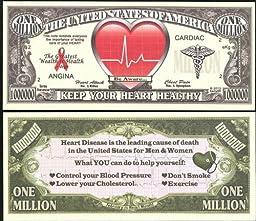 Heart Disease Awareness Million Dollar Novelty Bill - Lot of 100 Bills