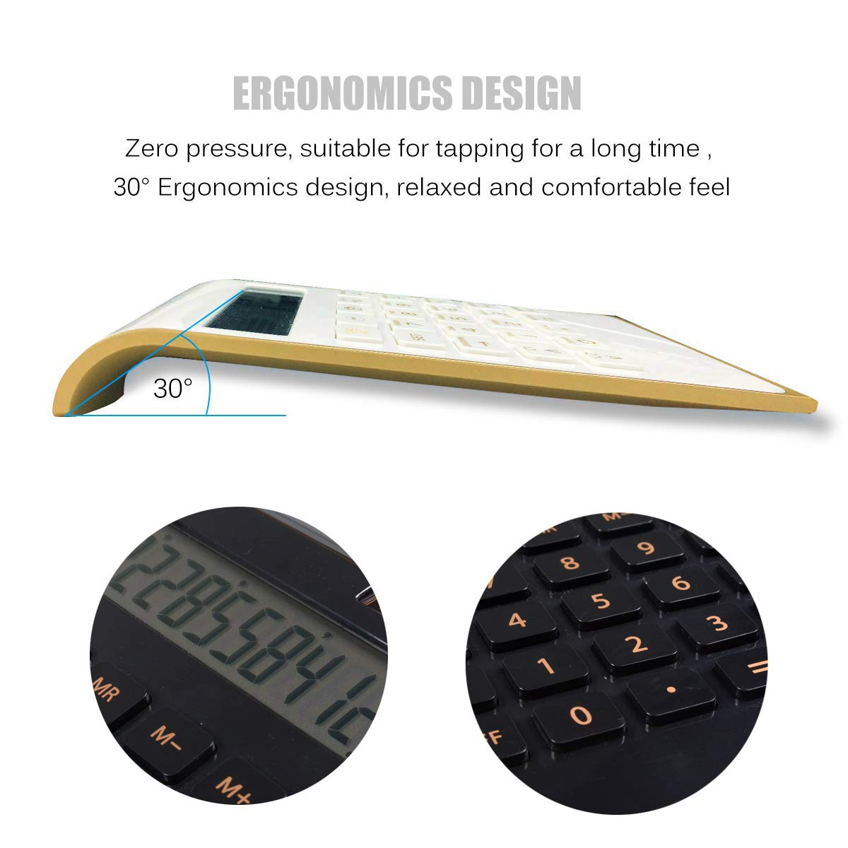 Standard Function Home and Office Electronics Desktop Calculator,Tilted LCD Display Slim Design Handheld Calculator Calculator,10 Digit Solar Dual Power Calculator Black