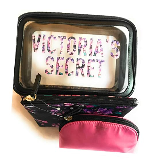 Victoria's Secret Cosmetic Bag 3 Piece Set Purple Floral Flower Pattern Clear