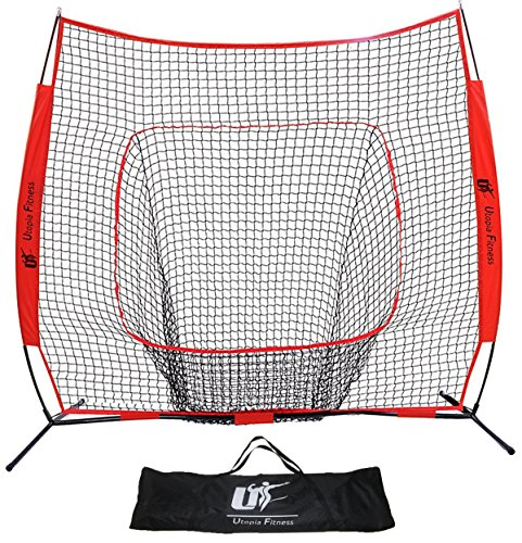 Baseball and Softball Net – 7X7 – Strike Zone – Ideal for Practicing, Hitting, Pitching, Batting, Catching and Fielding – Perfect for All Skill Levels – by Utopia Fitness