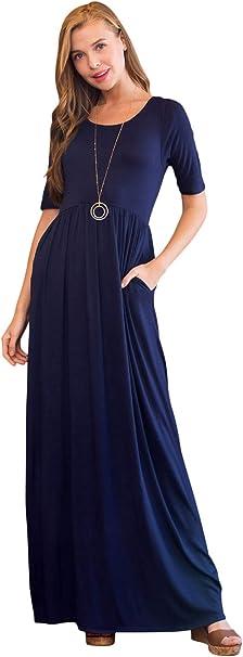Riah Fashion Damen Casual Jersey Maxi Bequemes U Ausschnitt Tasche Halbarm Lounge Langes Kleid Blau Mittel Amazon De Bekleidung