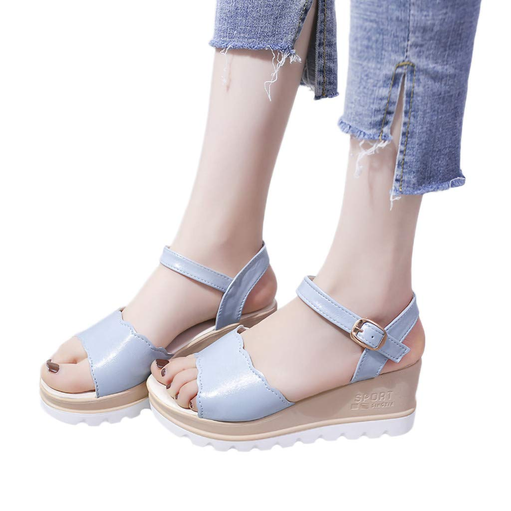 Summer Womens Casual Mid Heel Sandals Wedge Ankle Strap Shoes Buckle Strap Student Beach Shoes (Blue, Size:40=US:7.5)