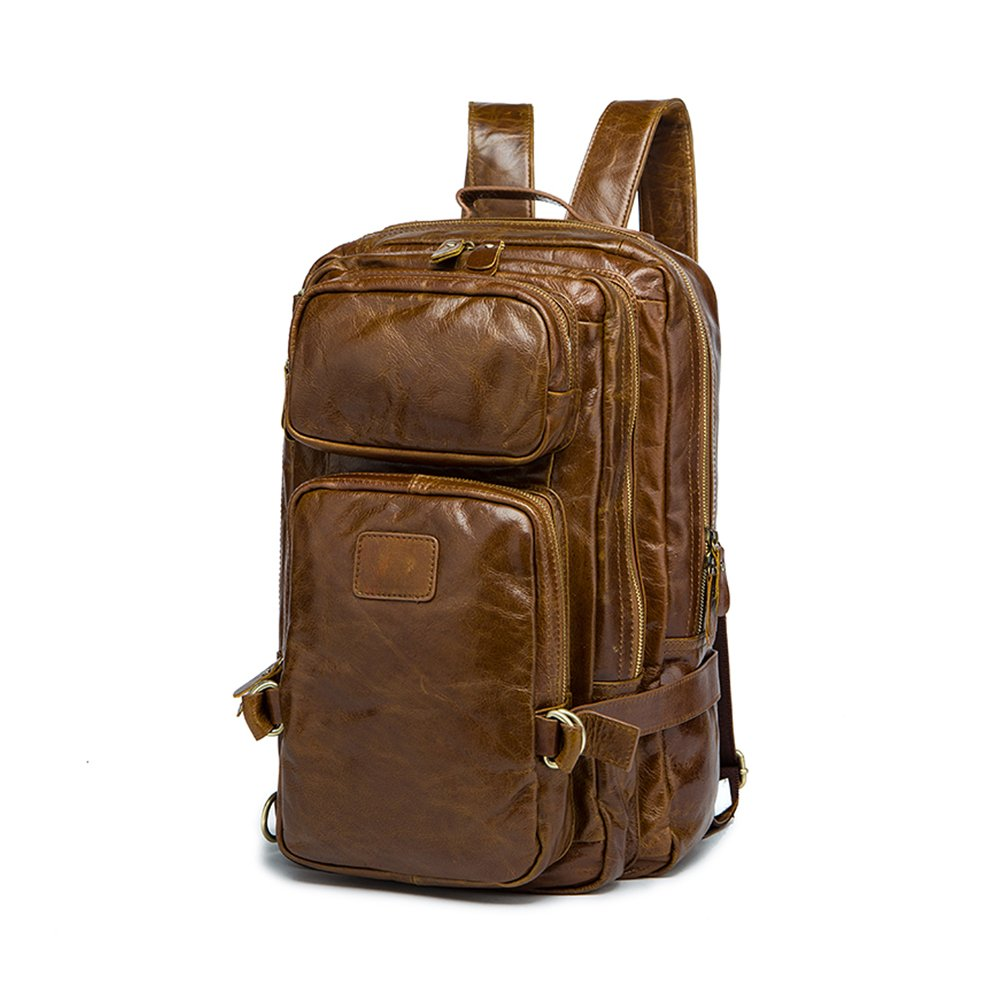 BAIGIO Leather Travel Backpack 15.6 Inch Laptop Luggage (Brown)