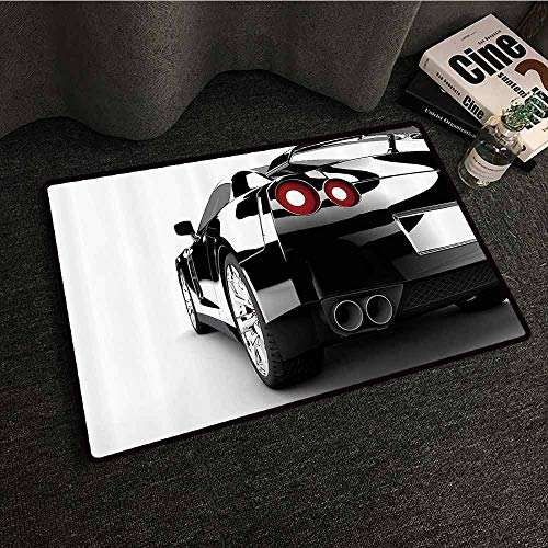 Taupe Rear Mat - Cars Decor Collection Entrance Door mat Rear View of A Modern Automobile with Wealthy Car Objects and Properties Fast Wheel Life Photo Machine wash/Non-Slip W16 xL24 Black